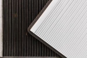 new vs old cabin air filter comparison from a car