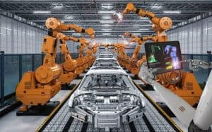 Car manufacturing assembly line - robots building cars