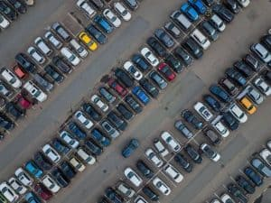 Parking lot full of vehicles