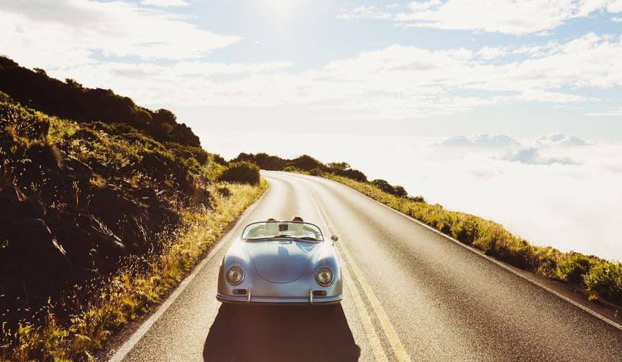 Porsche 356 cruising on the highway