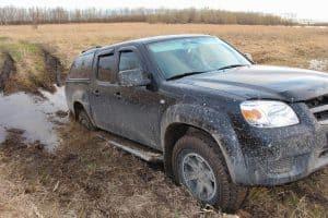 Car stuck in the mud