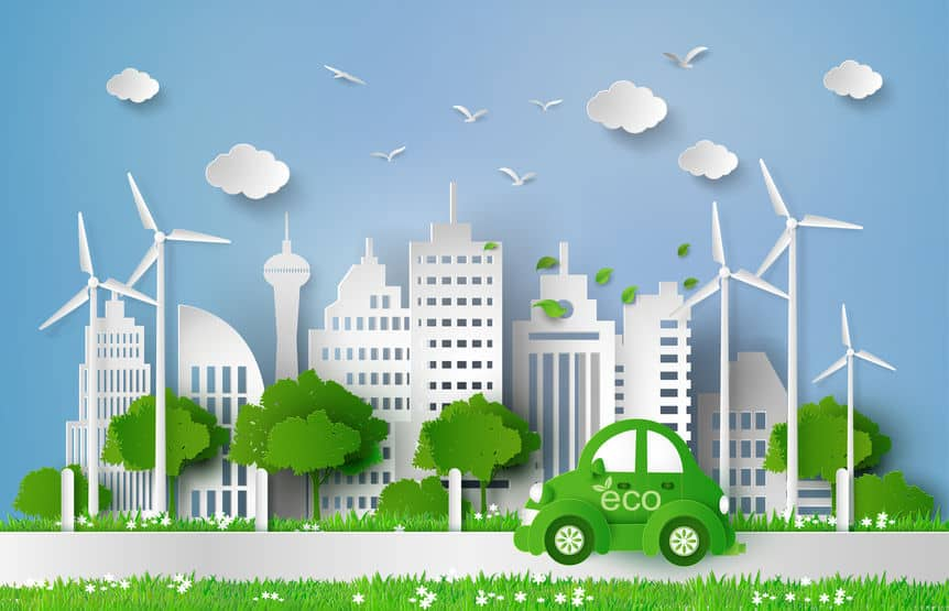 Car driving in an eco friendly environment illustration