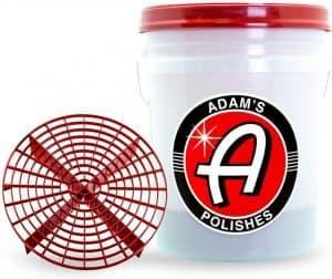 Adam's Grit Guard Wash Bucket with Lid - Professional, Heavy Duty 5 Gallon Detailing Bucket