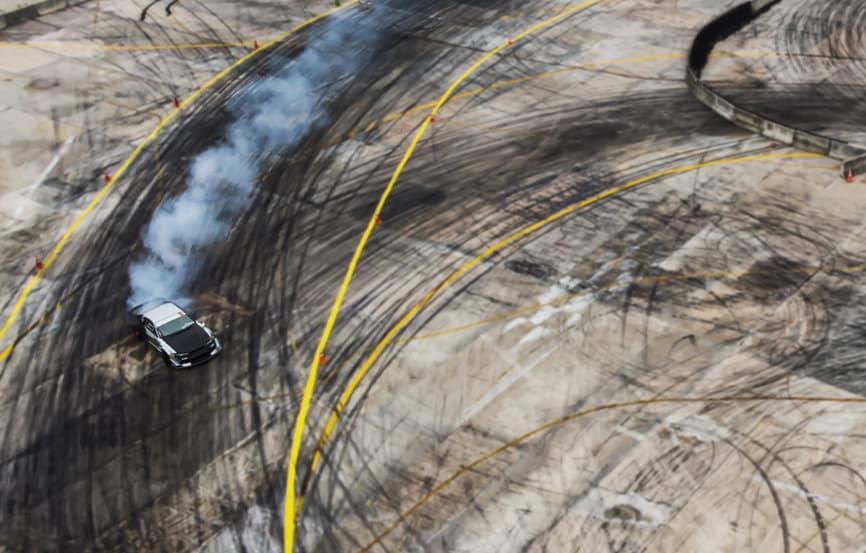 Car drifting via drone shot