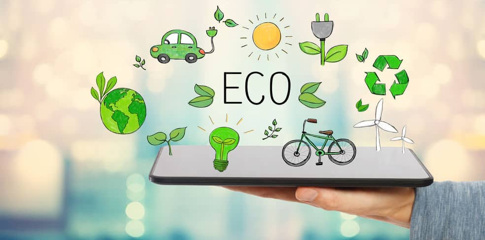 Eco with man holding a tablet