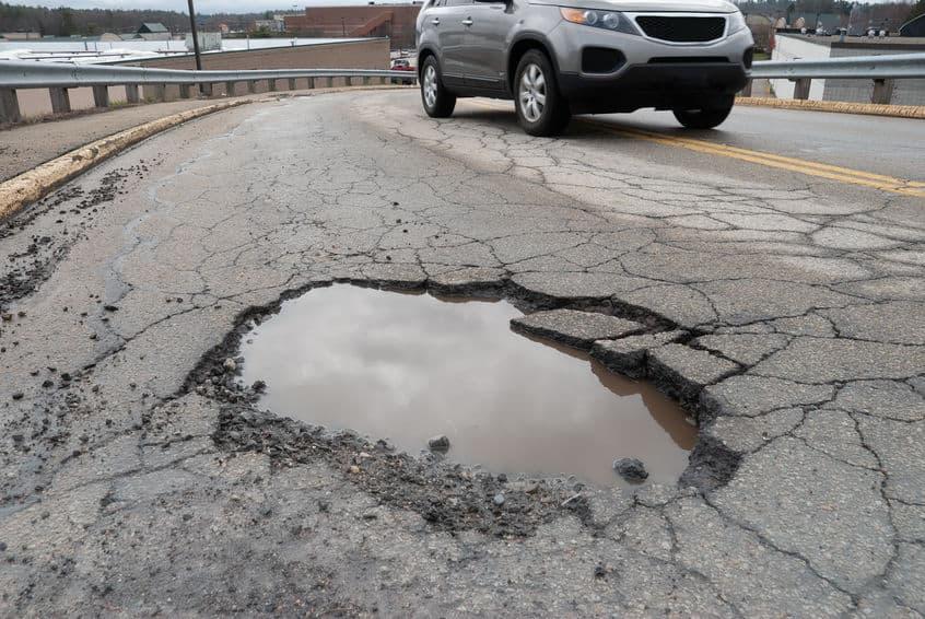 Pothole on the road