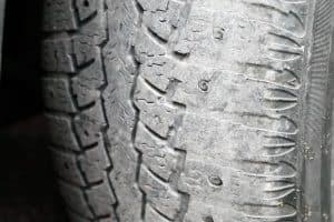 car tire, increased tire edge wear, macro, soft focus