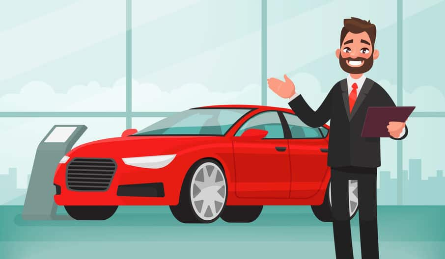 Sale of a new car. The seller at the car showroom shows the vehicle. Vector illustration