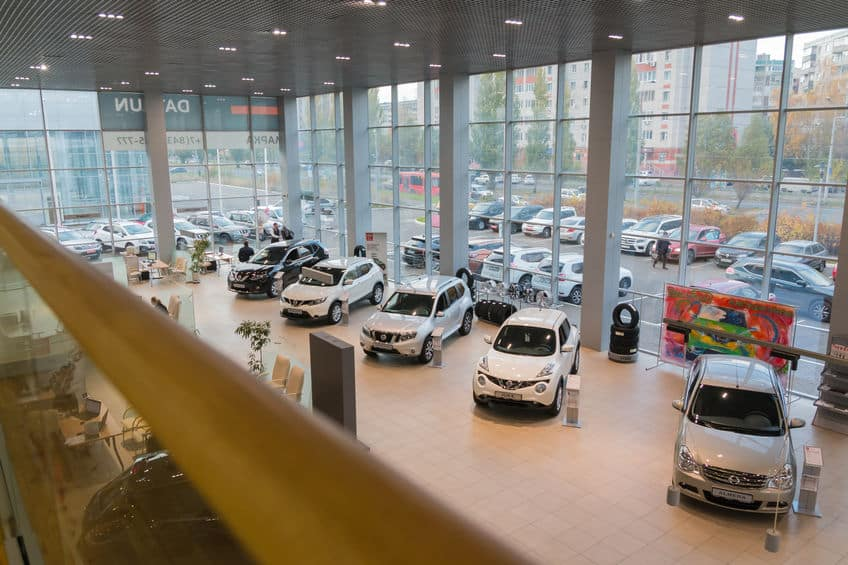 Car in showroom of dealership Nissan in Kazan city. View from the top