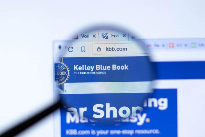 New York, USA - 29 September 2020: Kelley Blue Book kbb.com company website with logo close up, Illustrative Editorial