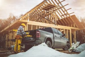 Pickup-truck-at-a-construction-site