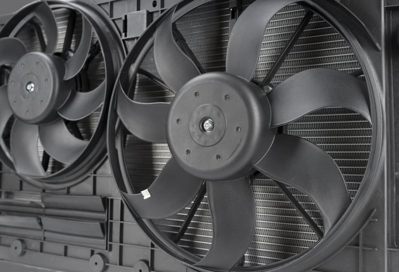 A/C condenser cooling fans
