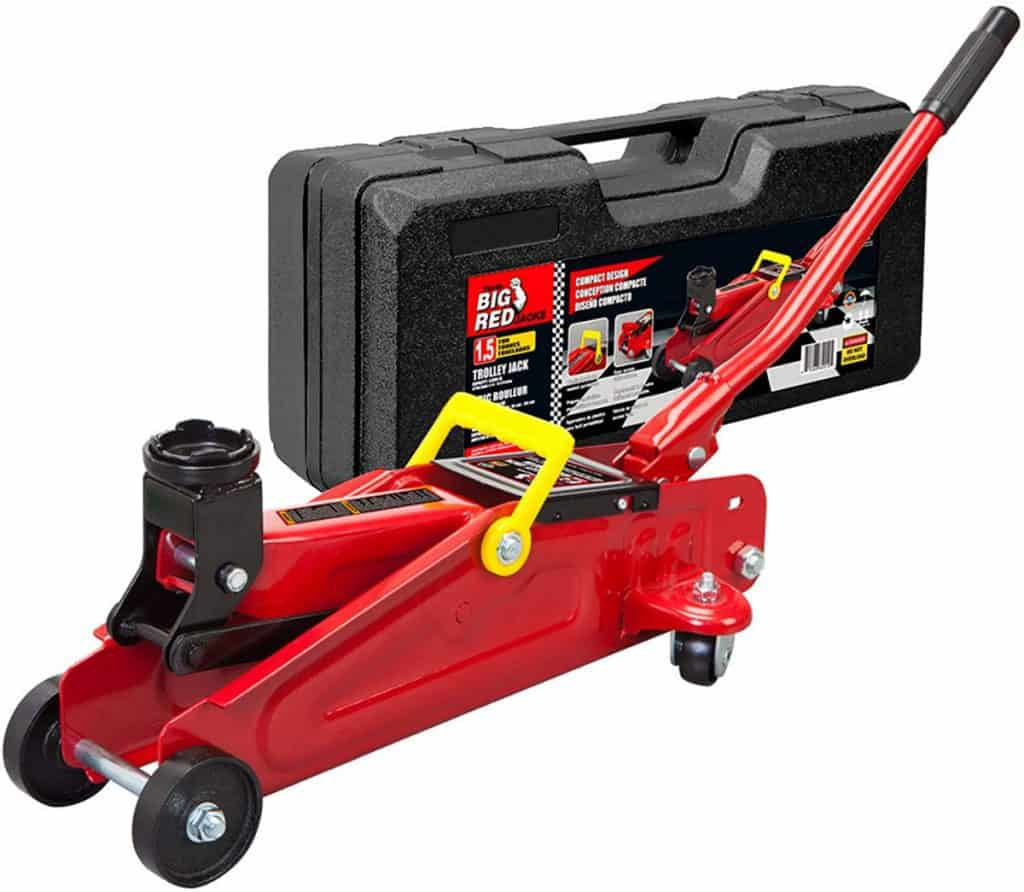 BIG RED T820014S Torin Hydraulic Trolley Service - Floor Jack with Blow Mold Carrying Storage Case 1.5 Ton (3,000 lb) Capacity, Red