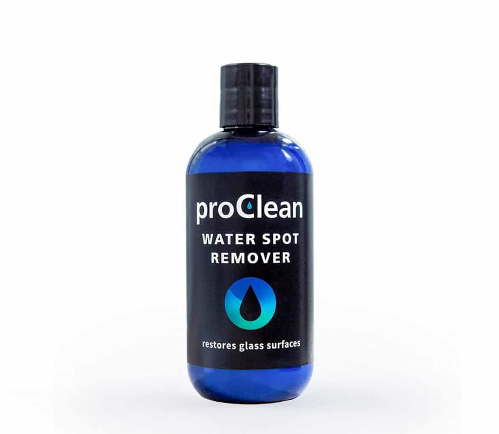 GlasWeld ProClean Hard Water Spot Remover Kit - 8 oz. Bottle with Applicator Pad - Mineral Deposit Remover