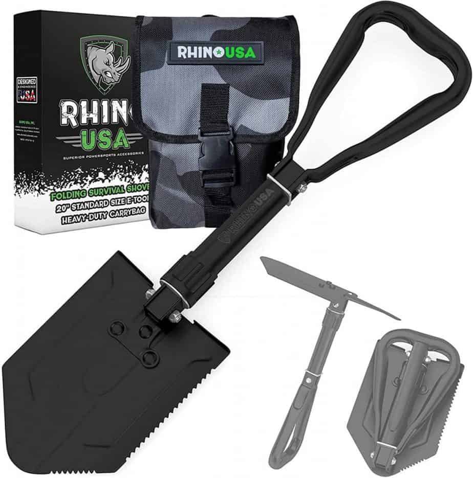 Rhino USA Folding Survival Shovel with Pick - Heavy Duty Carbon Steel Military Style Entrenching Tool for Off Road, Camping, Gardening, Beach, Digging Dirt, Sand, Mud & Snow