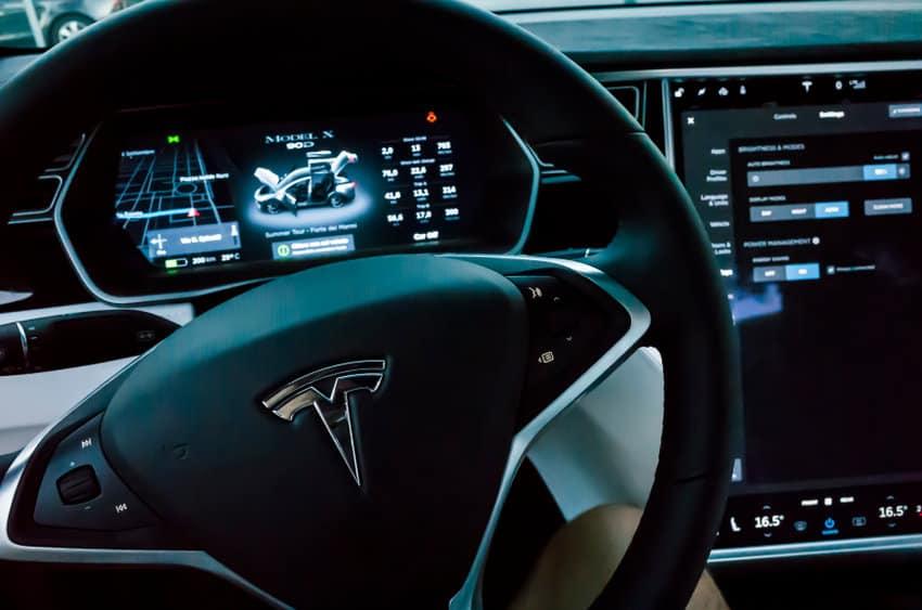 Tesla car presented in a public show