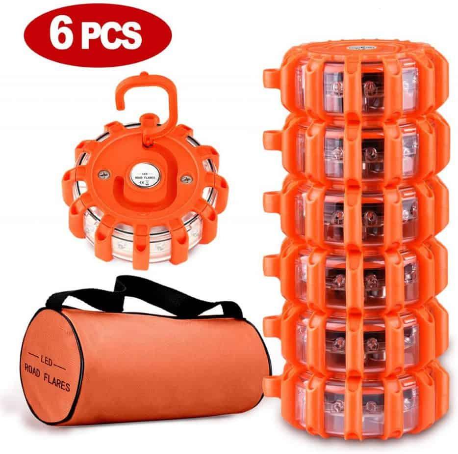 Tobfit 6 Pack LED Road Flares Emergency Lights Roadside Safety Beacon Disc Flashing Warning Flare Kit with Magnetic Base & Hook