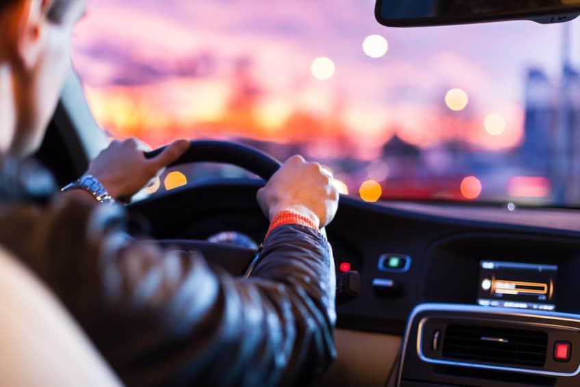 Car test drive - at night