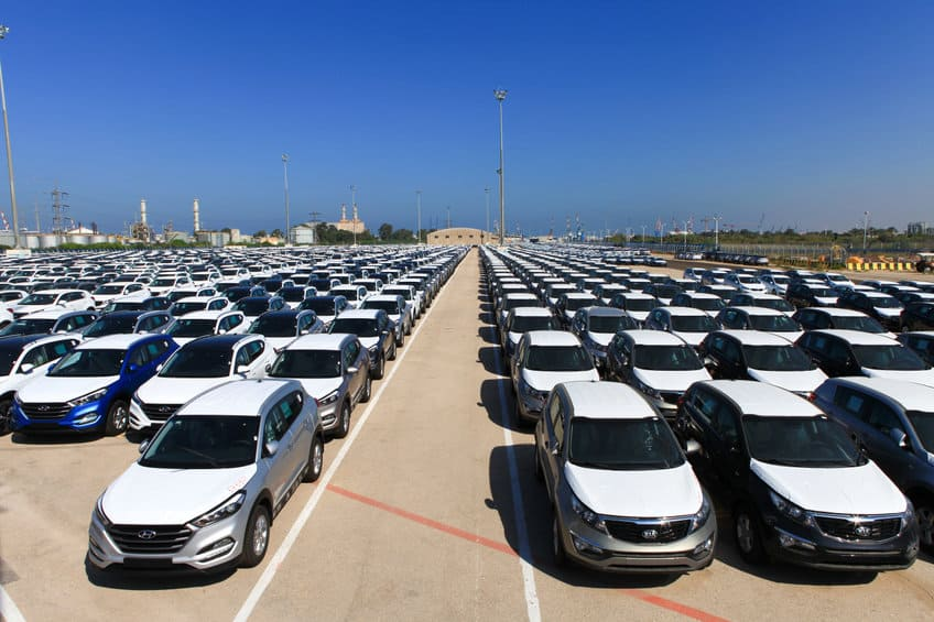 Rows of brand new cars