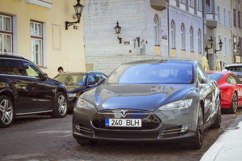 Tesla Model S on the street of Europe