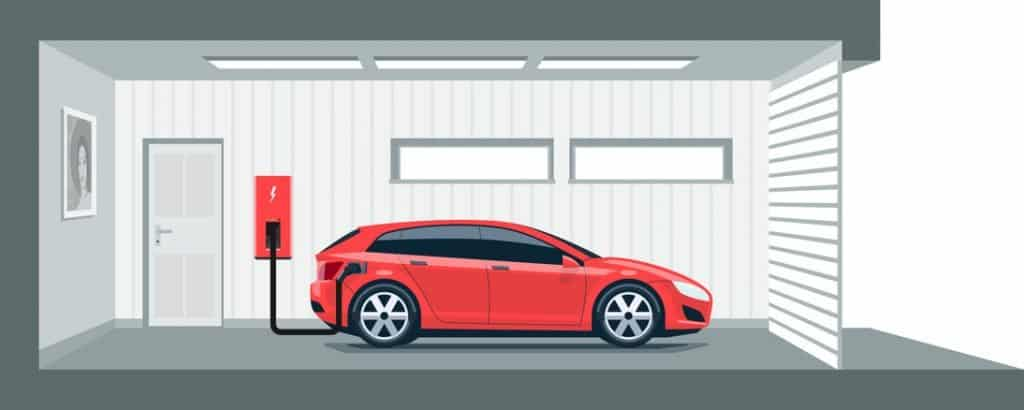 Electric car charger wall-mounted illustration