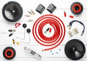 Car audio equipment speaker set with wiring and crossovers