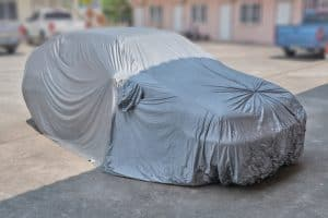 Car with a car cover installed