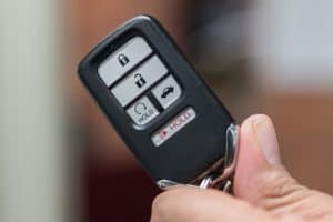 Wireless car key fob showing all the buttons